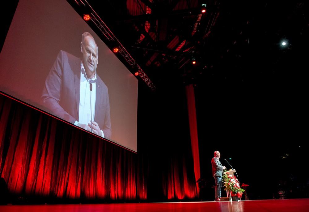 Vänsterpartiets kongress 2016bi Örebro. Jonas Sjöstedt inviger.