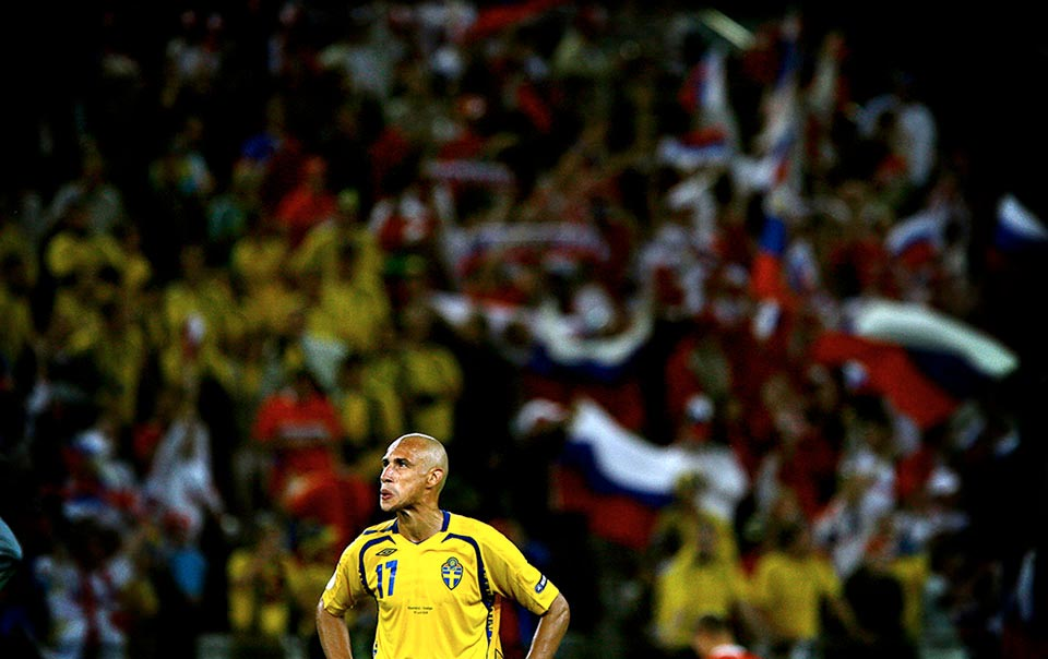 Fotbolls EM, Innsbruck. Ryssland – Sverige. Henrik Larsson efter slutsignalen.